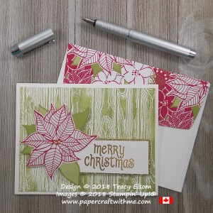 Christmas card with poinsettia from the Under The Mistletoe Designer Series paper and sentiment from the Mistletoe Season Stamp Set from Stampin' Up!