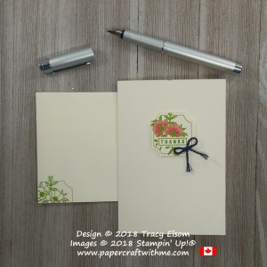 Simple note card with floral thanks layer created using the Darling Label Punch Box from Stampin' Up!