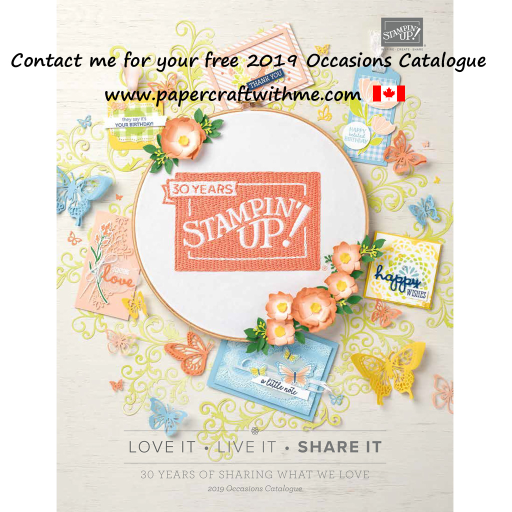 Cover of the Canadian English edition of the 2019 Occasions Catalogue from Stampin' Up!