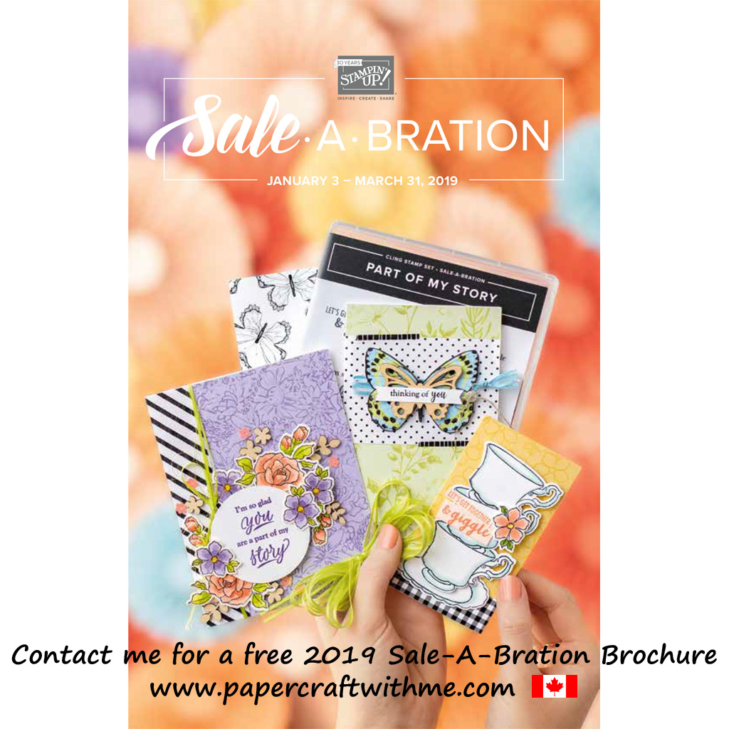 Cover of the Canadian English edition of the 2019 Sale-A-Bration Brochure from Stampin' Up!