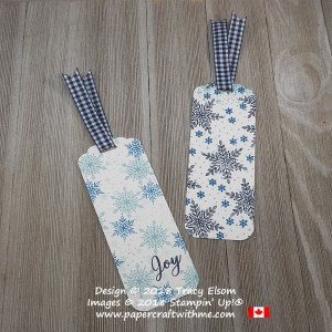 Two snowflake bookmarks created with simple stamping using the Snow Is Glistening Stamp Set from Stampin`Up!