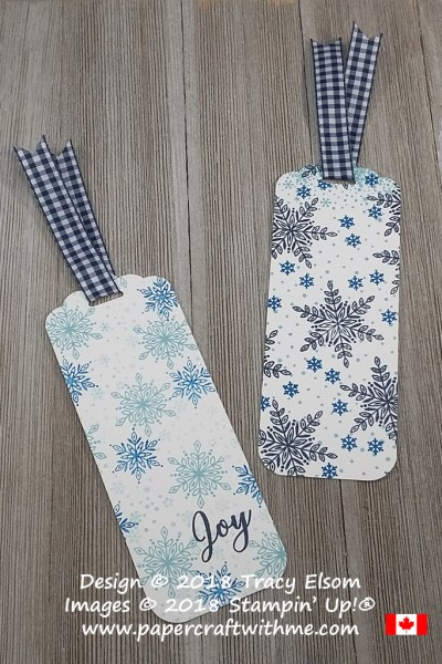 Two snowflake bookmarks created with simple stamping using the Snow Is Glistening Stamp Set from Stampin' Up!
