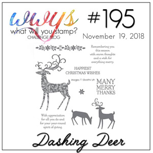 Logo for the What Will You Stamp? design challenge WWYS195 Dashing Deer (November 19 to 24, 2018)