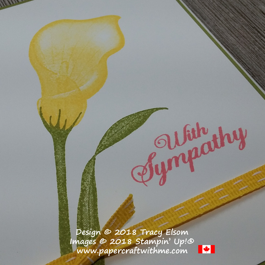 Close up of simple arum lily sympathy card created using the FREE Lasting Lily Stamp Set from Stampin' Up!