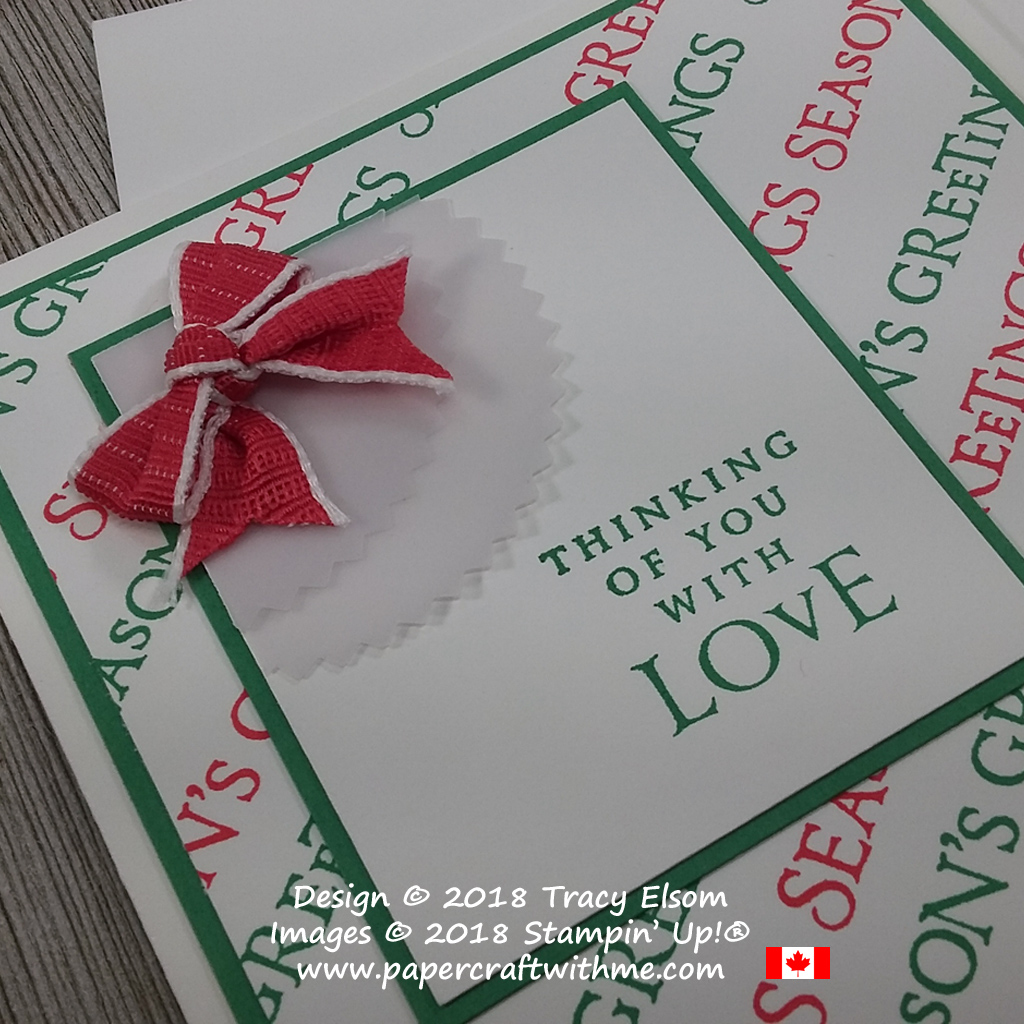 Close up of red and green seasons greetings / thinking of you card created using the Beautiful Blizzard Stamp Set from Stampin' Up!