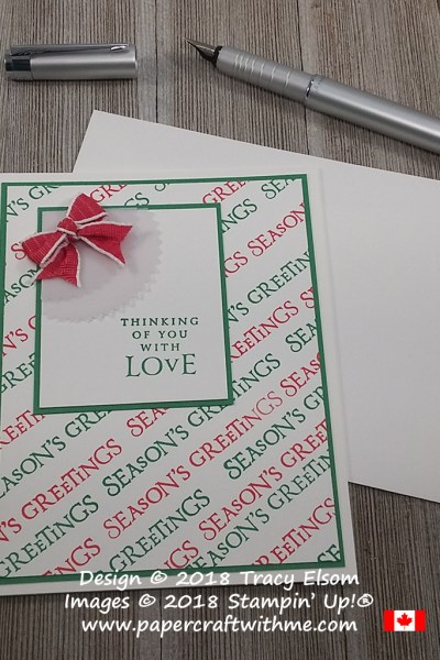 Red and green seasons greetings / thinking of you card created using the Beautiful Blizzard Stamp Set from Stampin' Up!