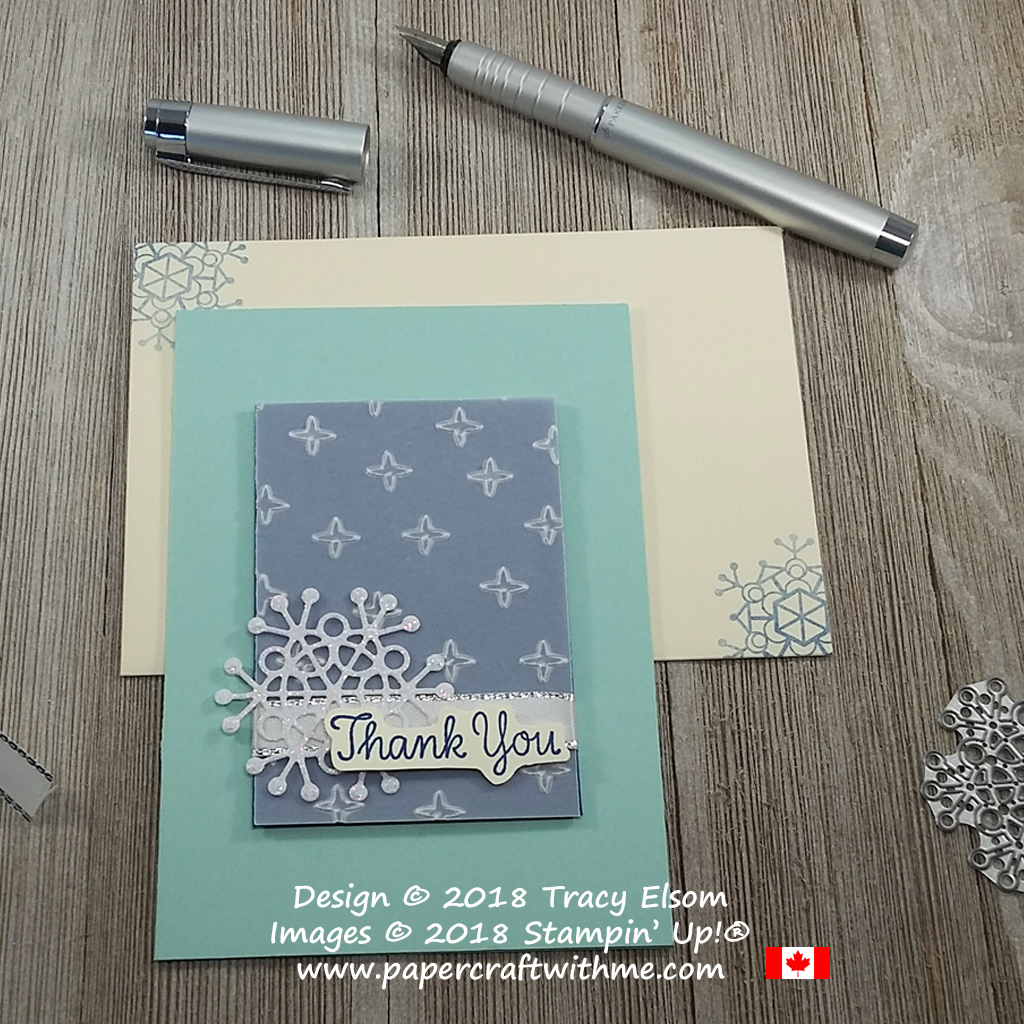 Winter thank you card created using the Thankful Thoughts Stamp Set and Seasonal Layers Thinlits Dies from Stampin' Up!