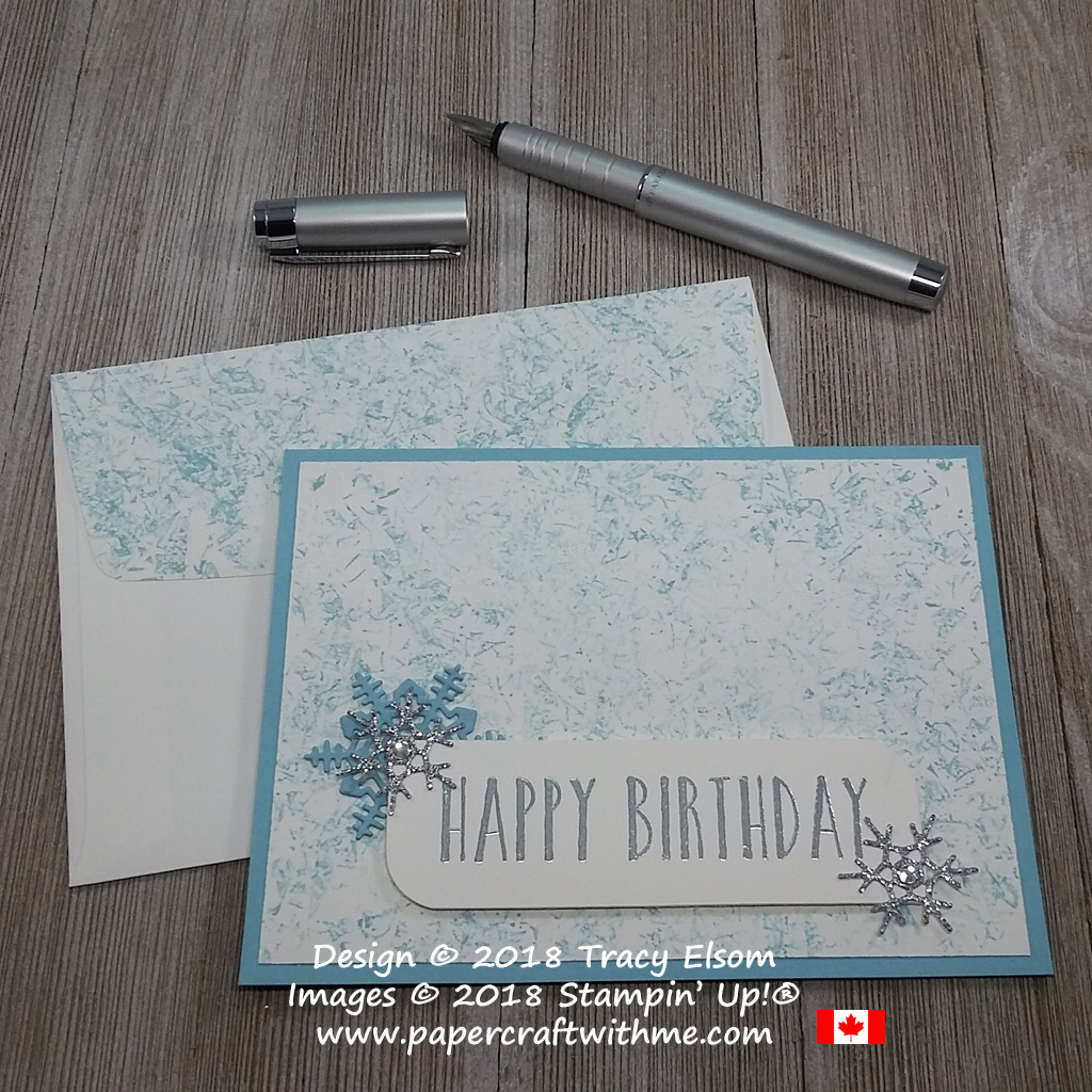 Winter birthday card created using the Perennial Birthday Stamp Set over a cracked ice background effect.