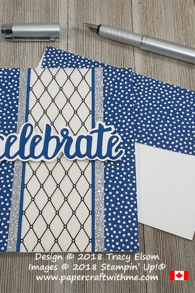 Celebrate card with a panel of Graceful Glass Designer Vellum and die-cut sentiment from the Celebrate You Thinlits Dies from Stampin' Up!