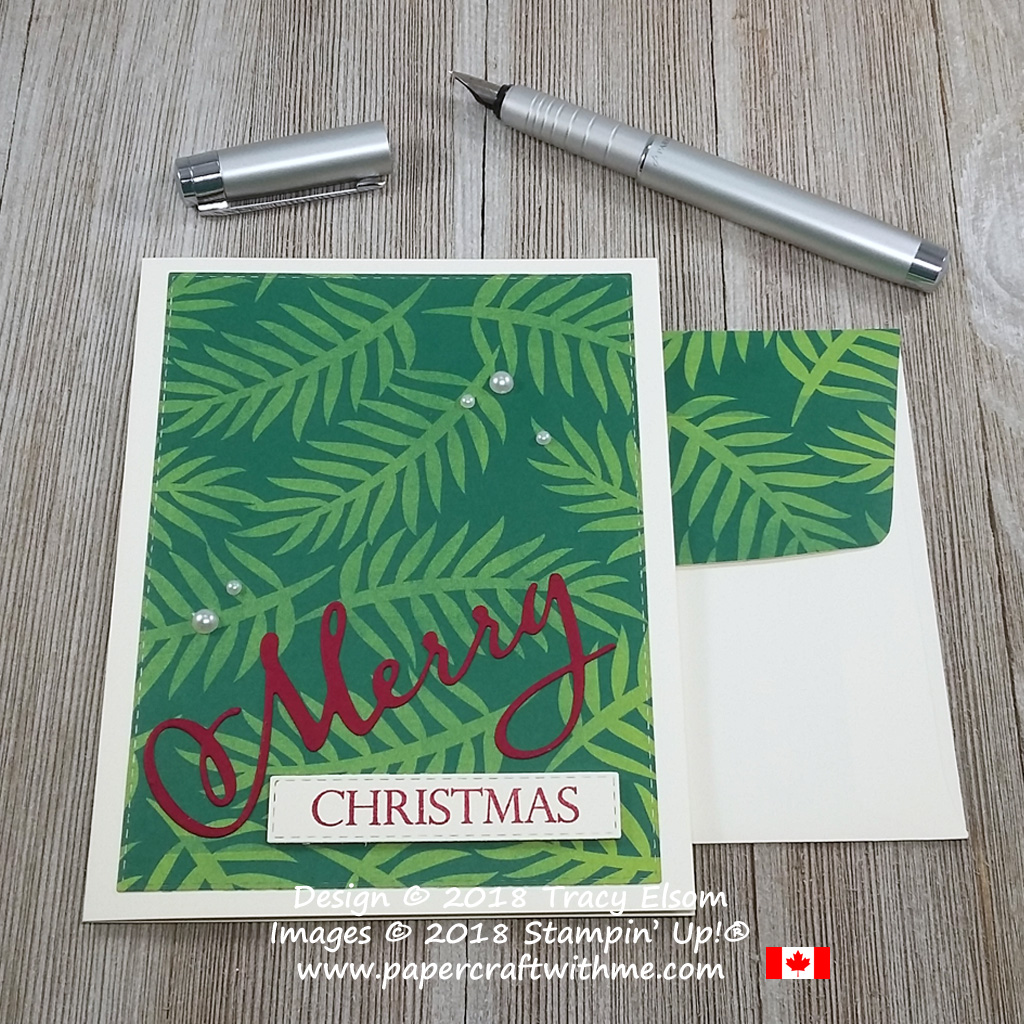 Christmas card created using the Merry Christmas Stamp Set and coordinating Merry Christmas Thinlits from Stampin' Up!