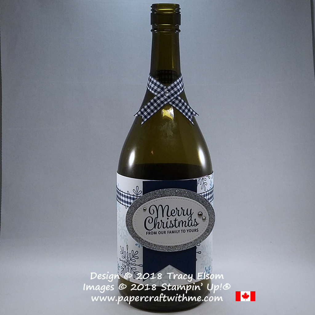 Wine bottle with label wrap and collar created using the Snowflake Sentiments Stamp Set from Stampin' Up!