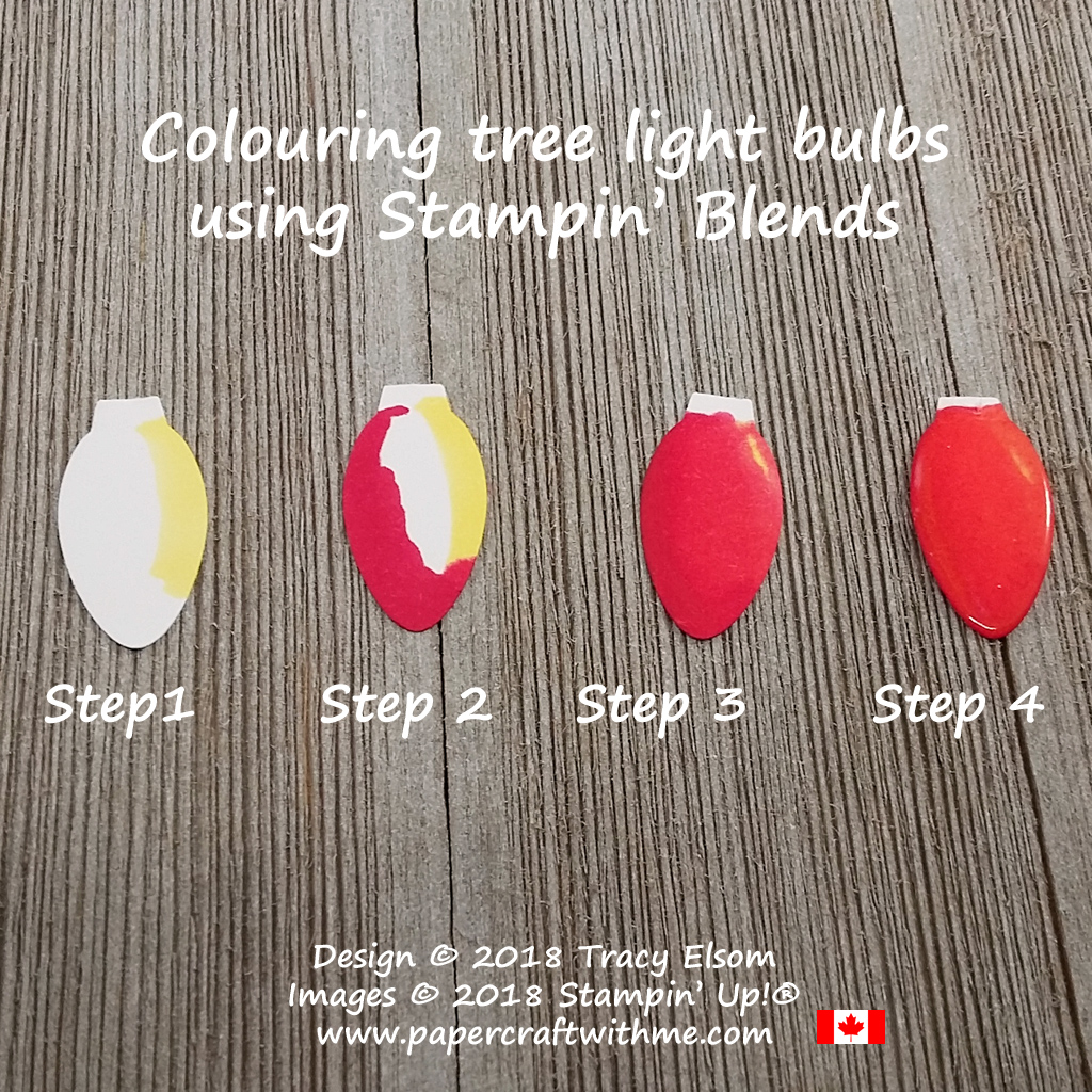 4 steps to colour with Stampin' Blends and clear emboss the shape from the Christmas Bulb Builder Punch from Stampin' Up!