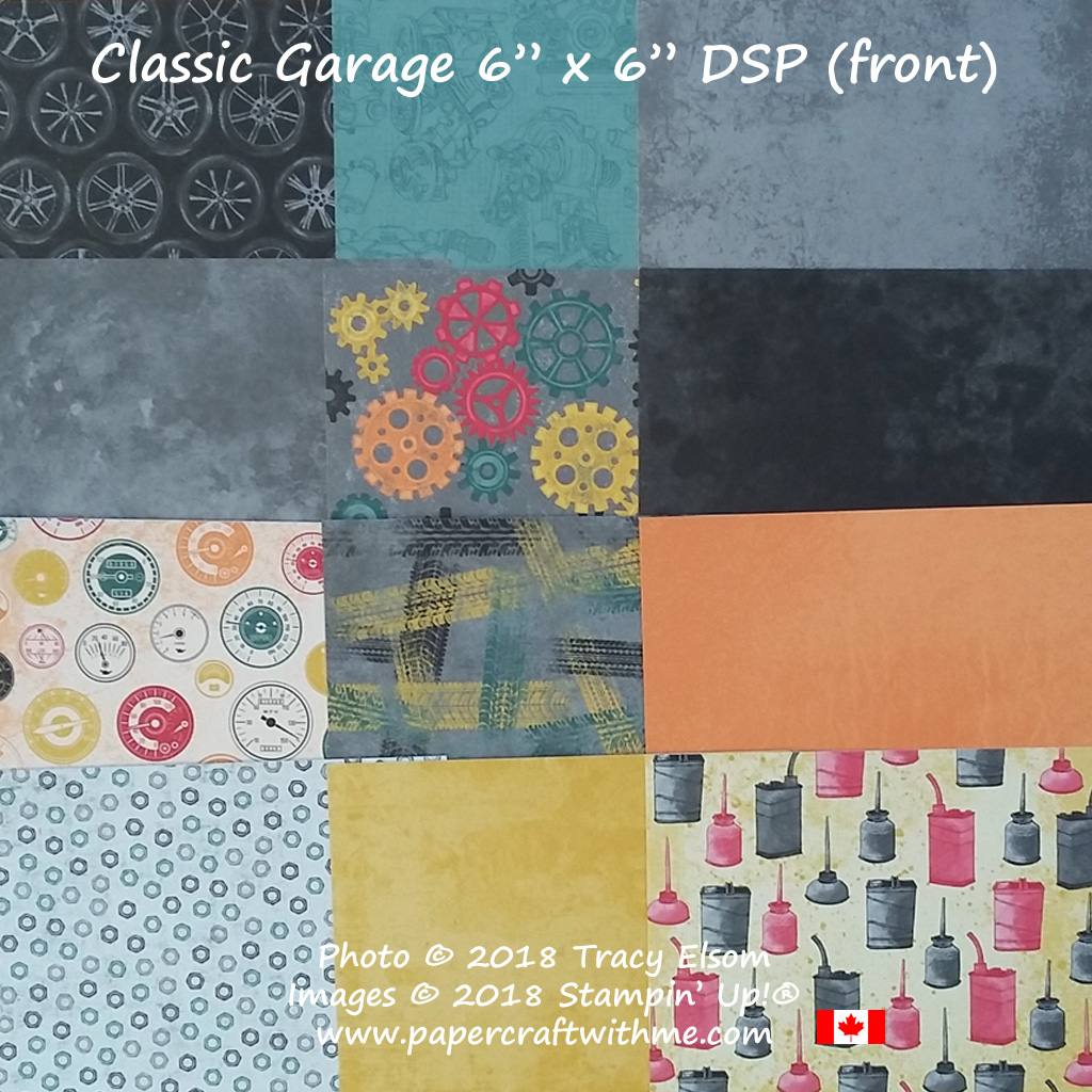 """Close up of sections of the Classic Garage 6"""" x 6"""" Designer Series Paper stack (front) from Stampin' Up!"""