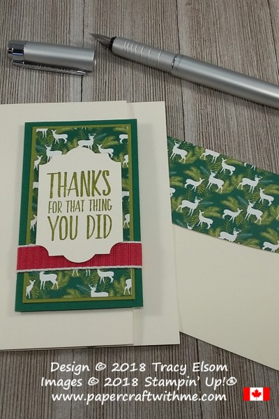 Gift card note card created using the All Things Thanks Stamp Set and Under The Mistletoe Paper from Stampin' Up!