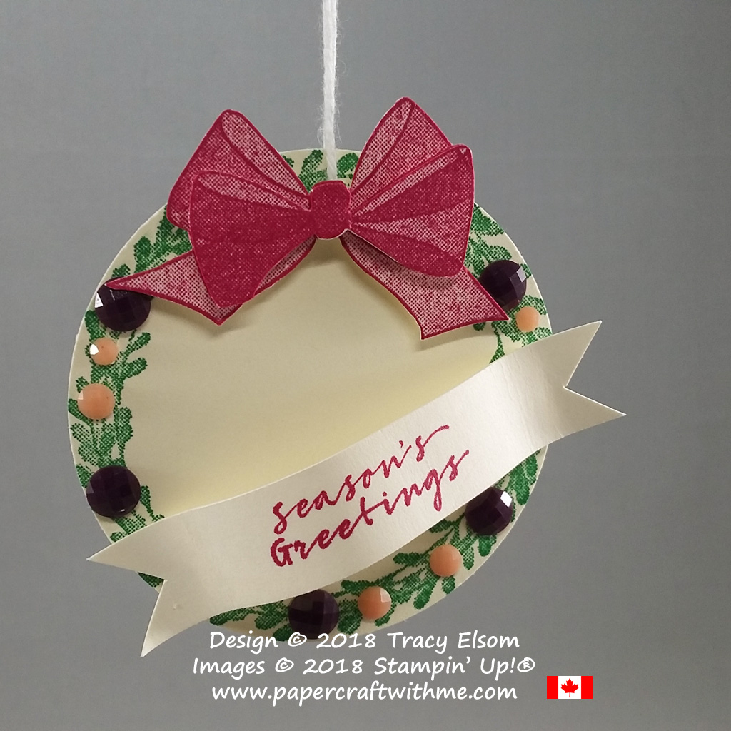 This layered gift tag features the DistINKtive wreath and bow images from the Wishing You Well Stamp Set from Stampin' Up!