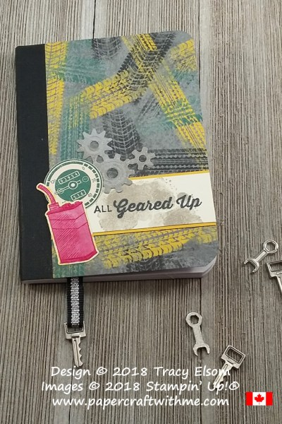 Motoring notebook decorated using products from the Classic Garage suite from Stampin' Up!