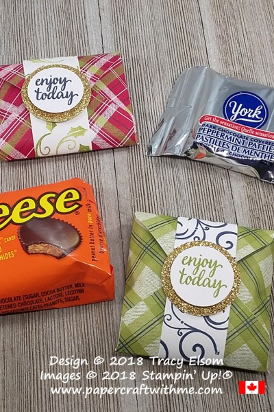 Sweet treat packaging for snack size York and Reeses patties created using the Envelope Punch Board from Stampin' Up!
