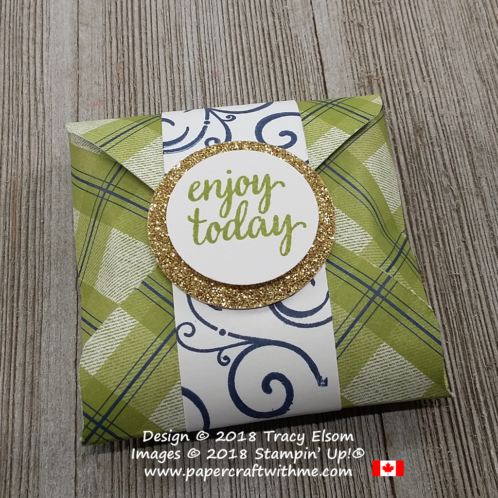 Pouch for a snack size Reeses patty created using the Envelope Punch Board from Stampin' Up!