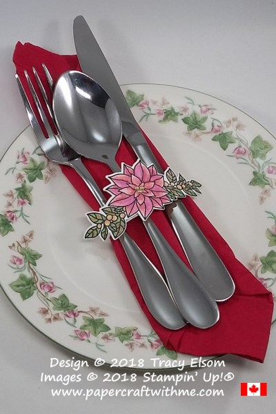Watercoloured silverware wrap created using the Peaceful Poinsettia Stamp Set from Stampin' Up!