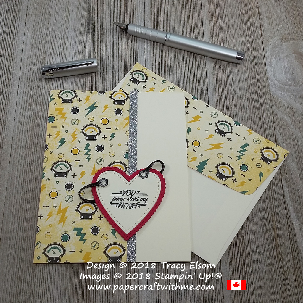 Masculine Valentine's card with 'you jump start my heart' sentiment from the Geared Up Garage Stamp Set cut with the Be Mine Stitched Framelits from Stampin' Up!