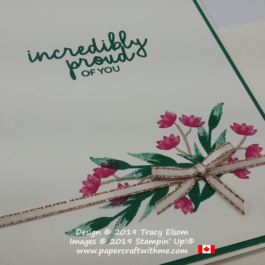 Close up of stamped floral arrangement and 'incredibly proud of you' sentiment from the Incredible Like You Stamp Set from Stampin' Up!