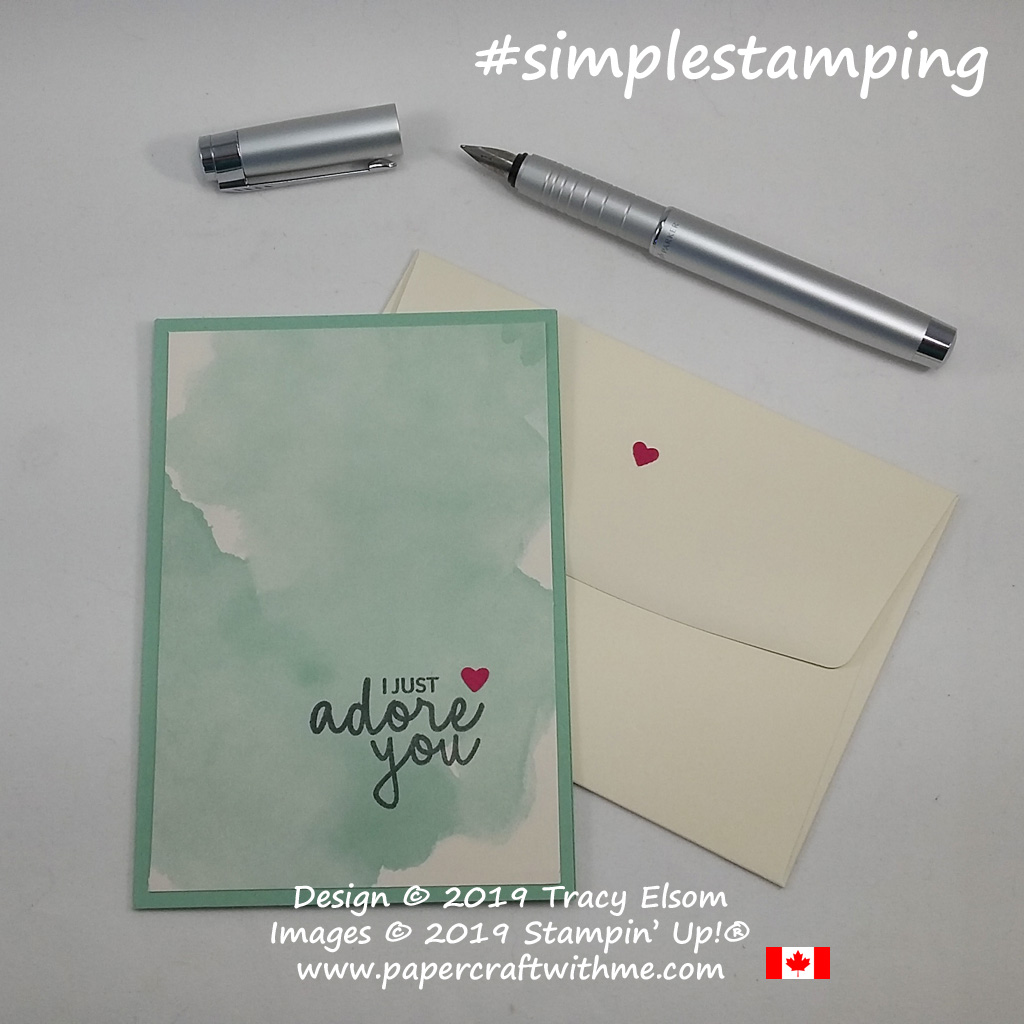 Simple layered Valentine's card created with Delightfully Detailed Notecard and I just adore you sentiment from the Incredible Like You Stamp Set from Stampin' Up!