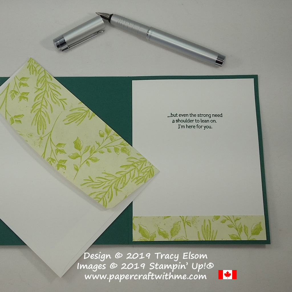 Inside and envelope flap of simple card created using the Beautiful Promenade Stamp Set from Stampin' Up!