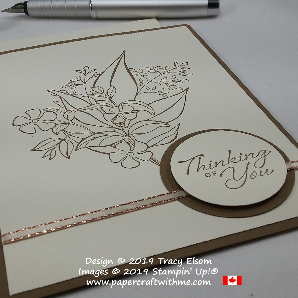 Close up of simple sepia thinking of you card created using the Wonderful Romance Stamp Set from Stampin' Up!