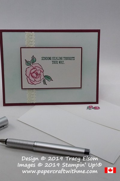 Get well card with 'Sending healing thoughts your way' sentiment from the Well Said Stamp Set and roses from Tea Together from Stampin' Up!