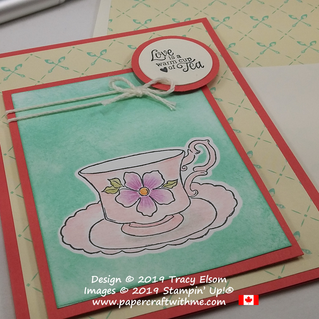 Close up of Love is card created using the Tea Together Stamp Set and Free coordinating Tea Time Framelits from Stampin' Up!
