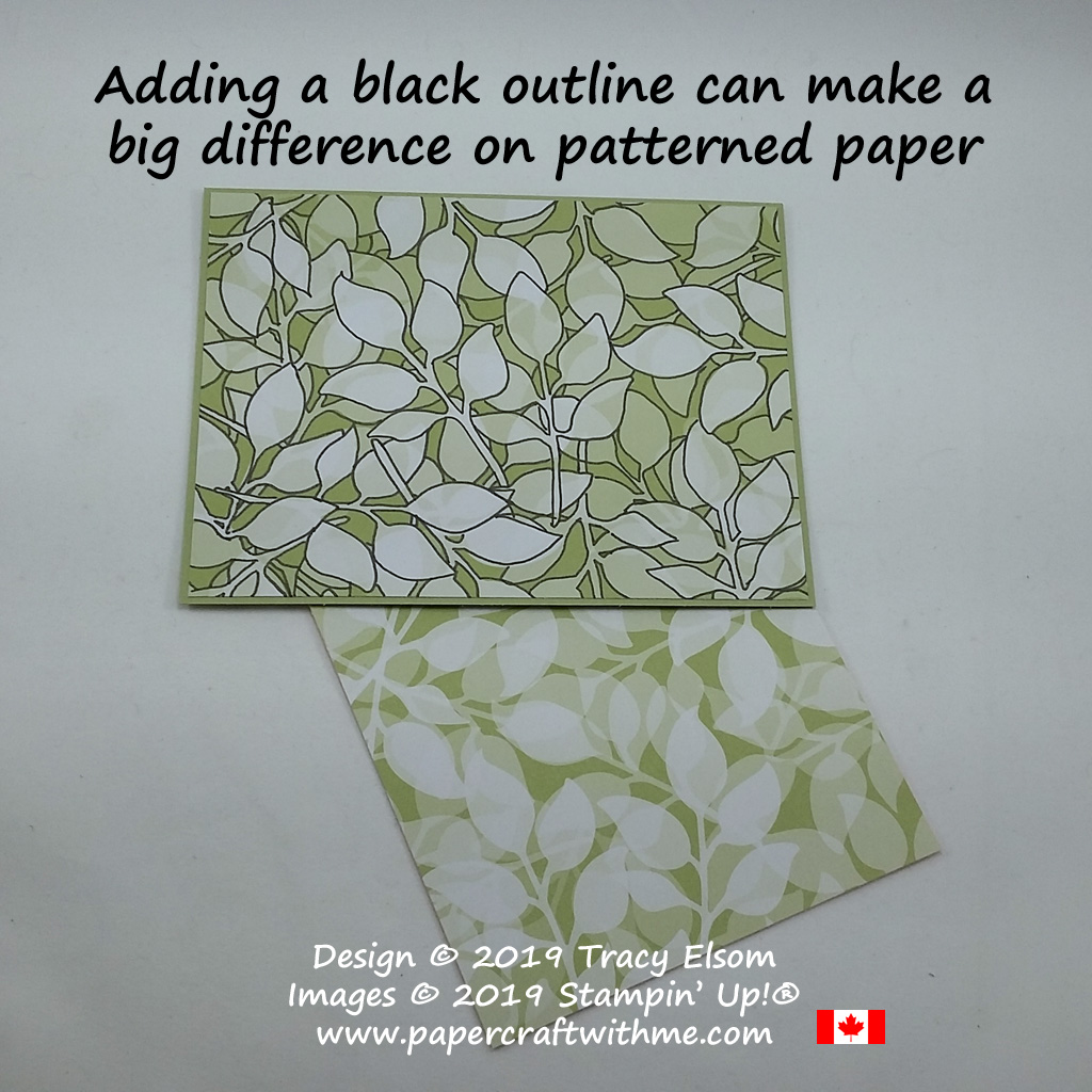 Patterned paper like this Floral Romance DSP from Stampin' Up! can take on a whole new look with the addition of some simple black outlines.