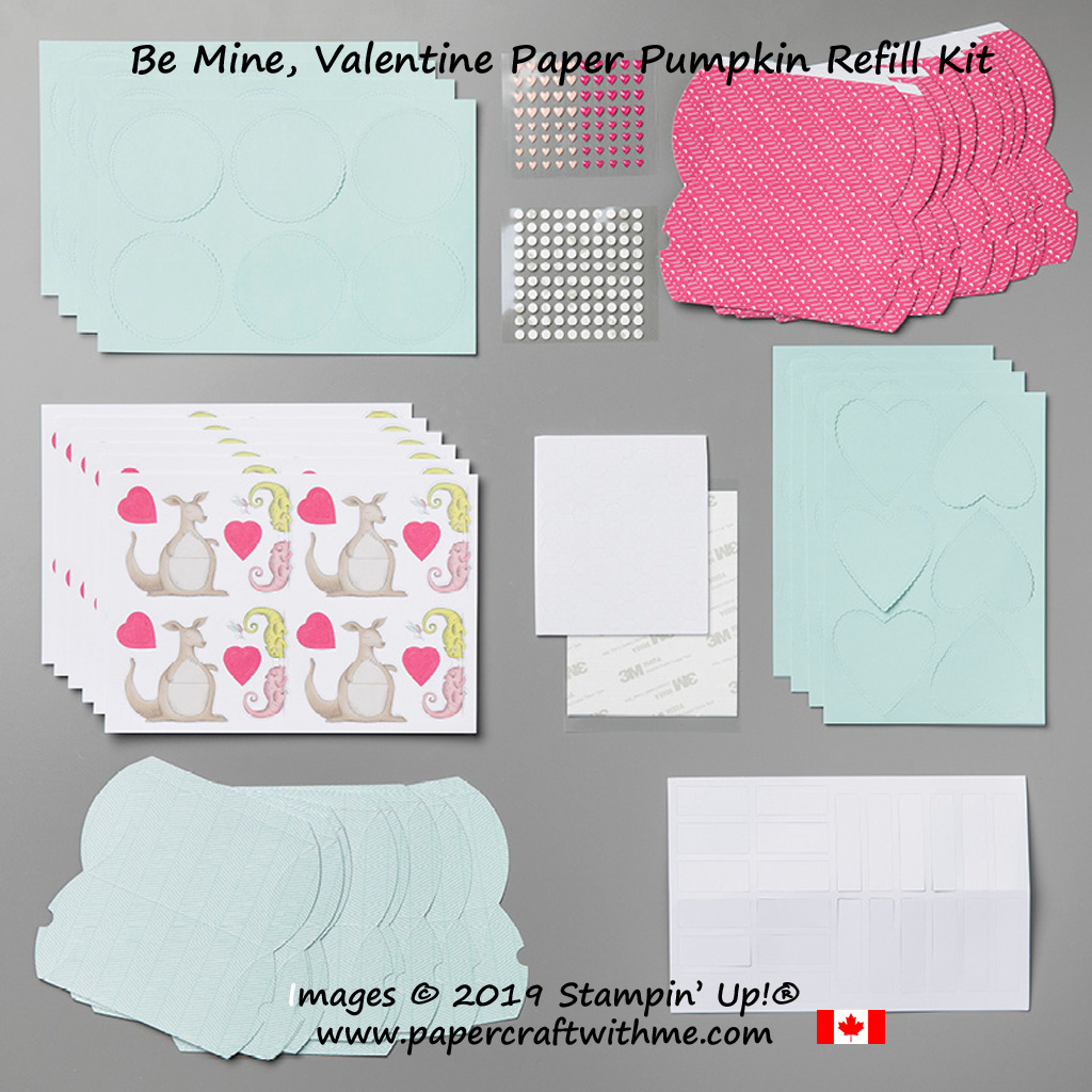 Refill kit contents for the Be Mine, Valentine (January 2019) Paper Pumpkin kit from Stampin' Up!