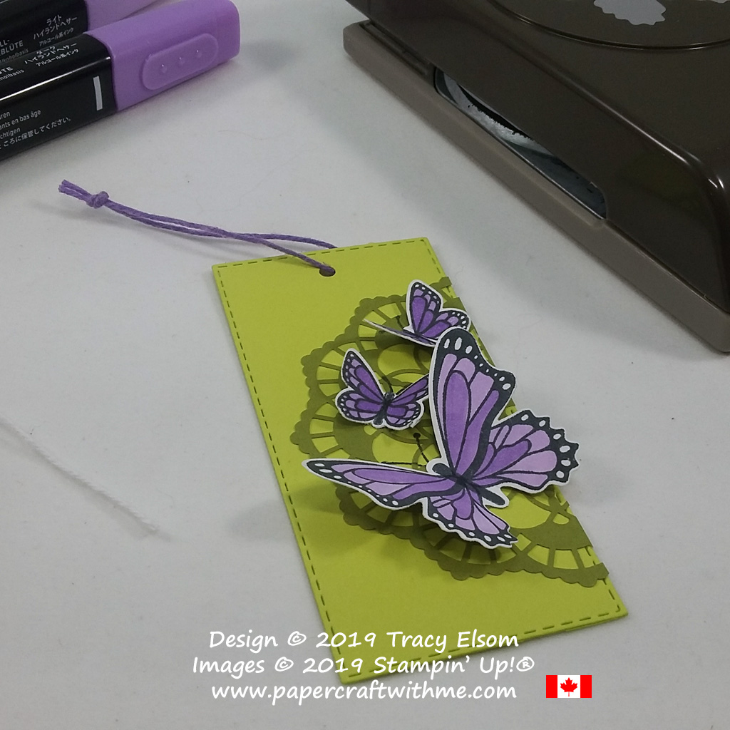 Large layered gift tag with butterflies from the Butterfly Gala Stamp Set and coordinating Butterfly Duet Punch from Stampin' Up!