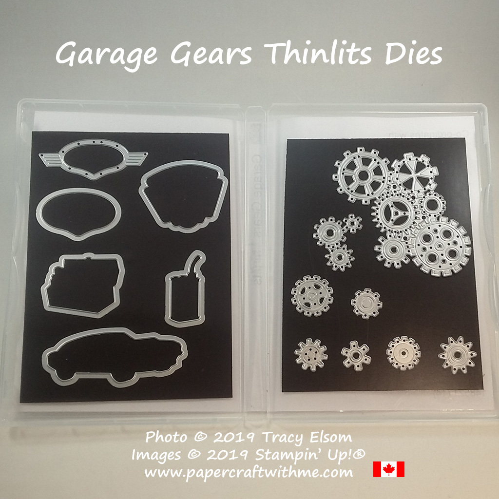 Garage Gears Thinlits Dies from Stampin' Up! (coordinating Geared Up Garage Stamp Set also available). Buy online for delivery anywhere in Canada at www.papercraftwithme.com
