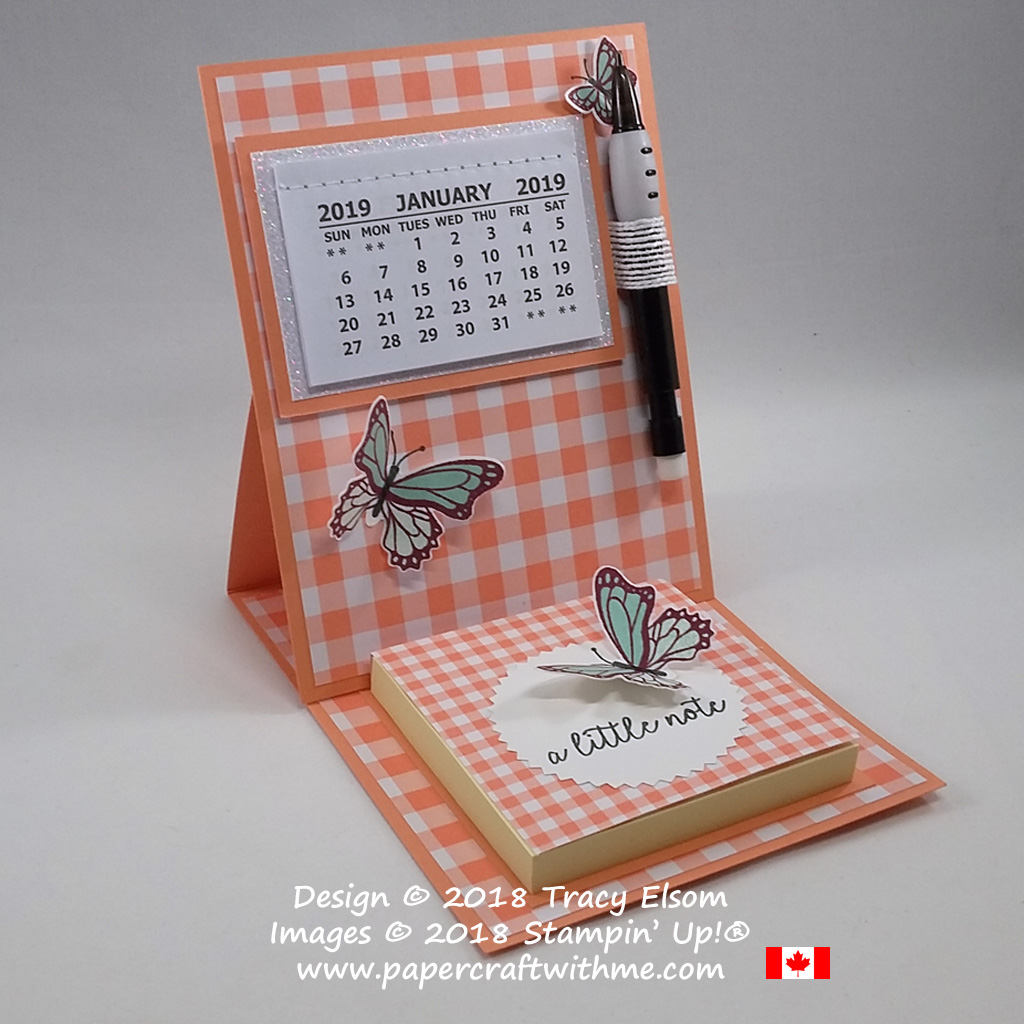 Simple easel card with 2019 calendar and Post-It note pad created using the Butterfly Gala Stamp Set and Gingham Gala DSP from the Gingham Gala suite of products from Stampin' Up!
