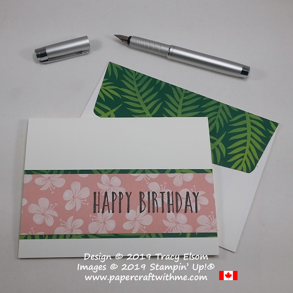 Simple card with big happy birthday sentiment from the Perennial Birthday Stamp Set stamped onto Tropical Escape Designer Series Paper from Stampin' Up! #simplestamping