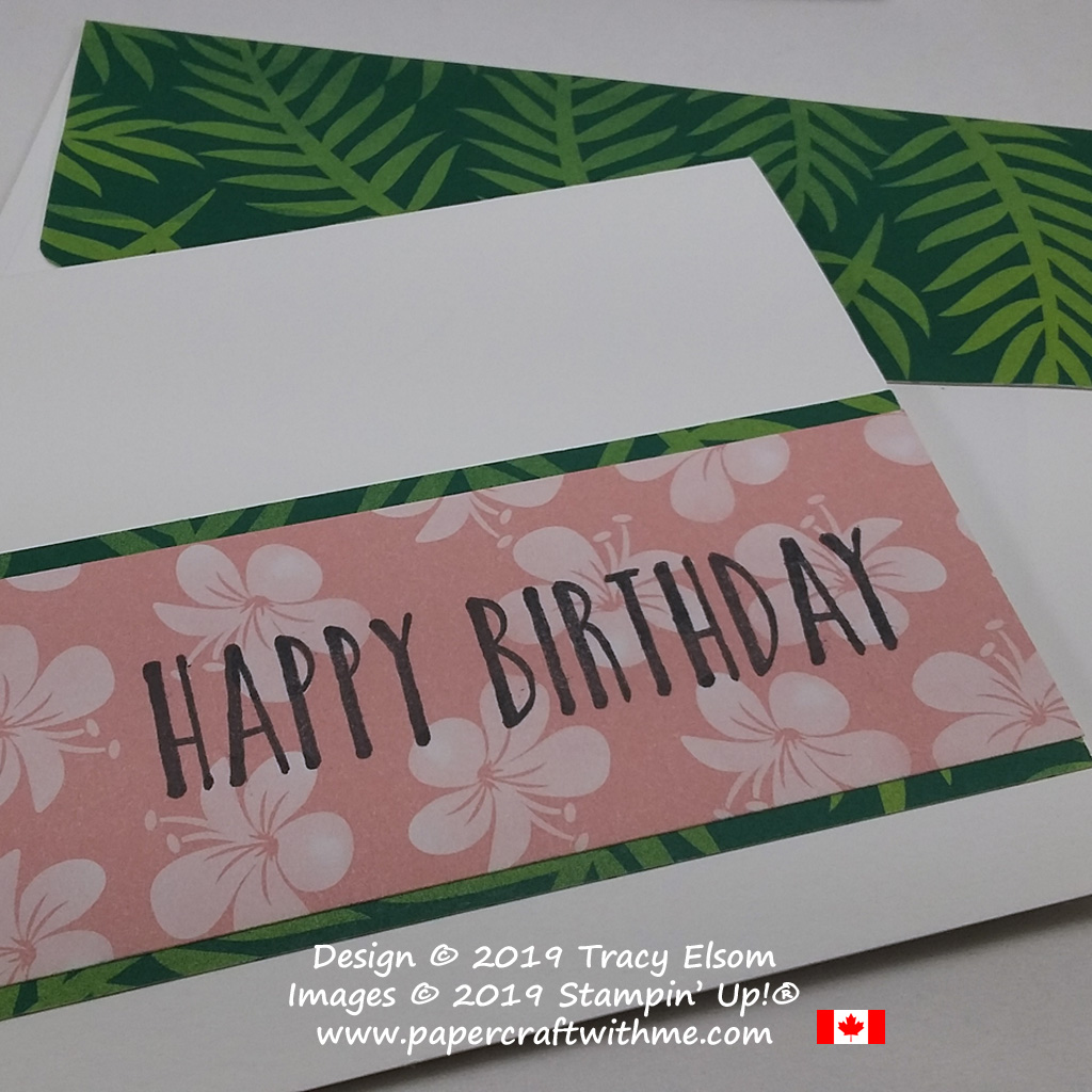Close up of simple card with big happy birthday sentiment from the Perennial Birthday Stamp Set stamped onto Tropical Escape Designer Series Paper from Stampin' Up! #simplestamping