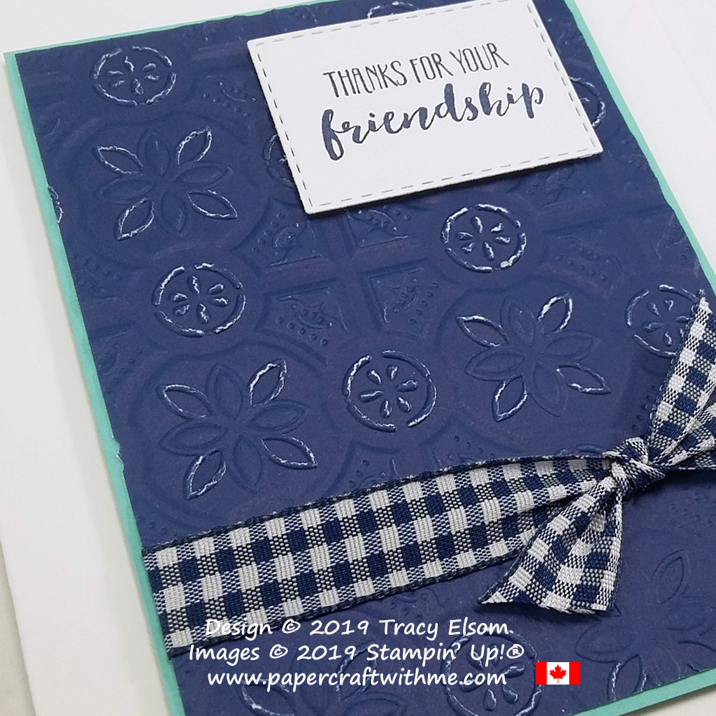 Close up of friendship thanks card created with the free Home To Roost Stamp Set and distressed background using the Tin Tile Dynamic Embossing Folder from Stampin' Up!