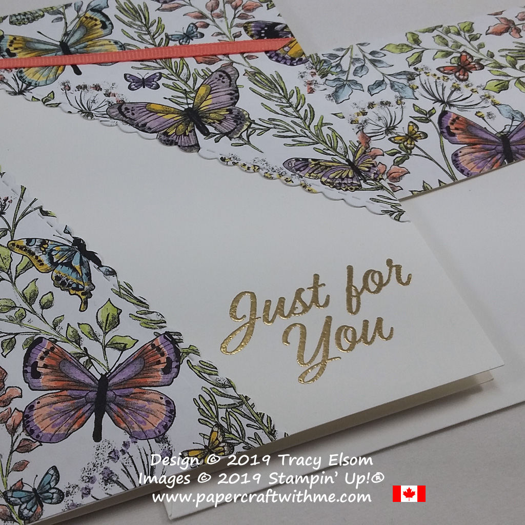 Close up of just for you card featuring a host of butterflies and foliage in a split layer design created using the Meant To Be Stamp Set and coordinating Be Mine Stitched Framelits. The butterfly paper is available free when you order the stamp set and die bundle from Stampin' Up by March 31st.