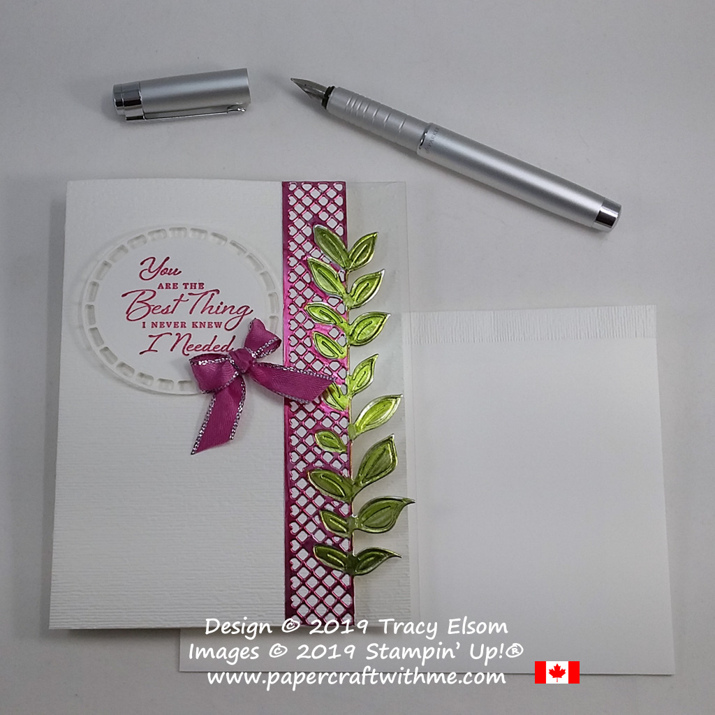 Coloured foil Valentine's card created using Stampin' Blends with the Wonderful Romance Stamp Set and coordinating Wonderful Floral Framelits from Stampin' Up!