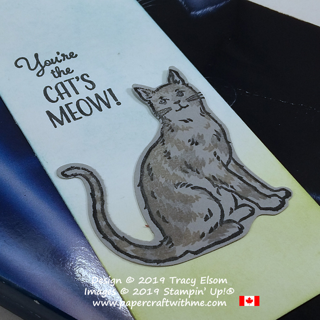 Close up of bookmark with a grey tabby cat created using the Nine Lives Stamp Set and Cat Punch from Stampin' Up!