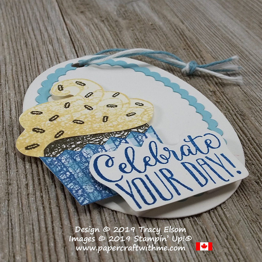 Close up of cupcake tag with celebrate your day sentiment from the free Hello Cupcake Stamp Set from Stampin' Up!
