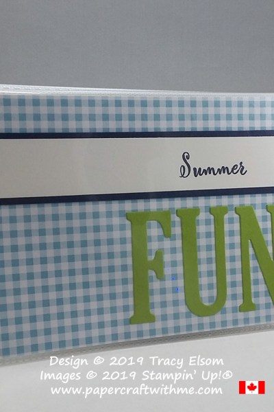 Pocket photo album with simple summer fun cover created using the Make a Difference Stamp Set and Large Letters Framelits on a gingham background, all from Stampin' Up!