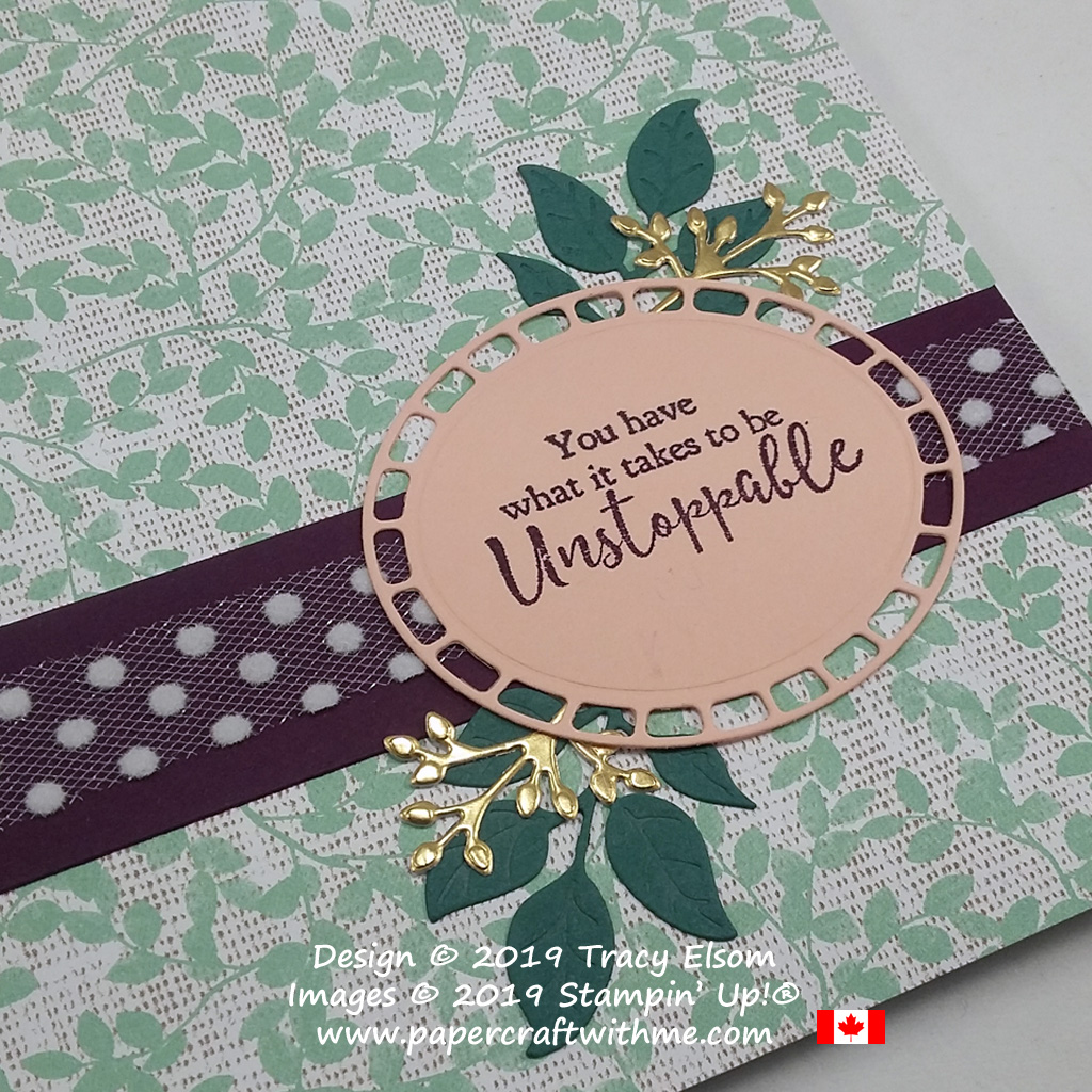 Close up of decorated notepad with altered unstoppable sentiment from the Strong & Beautiful Stamp Set, and die-cut pieces from the Wonderful Floral Framelits from Stampin' Up!