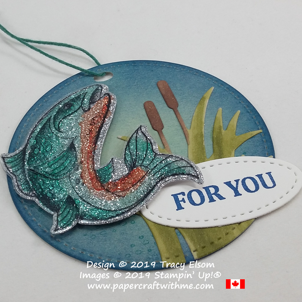Close up of sparkling trout gift tag created using the Best Catch Stamp Set and coordinating Catch of the Day Thinlits Dies from Stampin' Up!