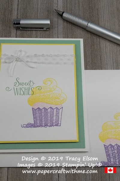 Simple card with image and sweet wishes sentiment from the Hello Cupcake Stamp Set from Stampin' Up! Stamp set available for free until March 31st with coordinating dies also available to buy while stocks last.
