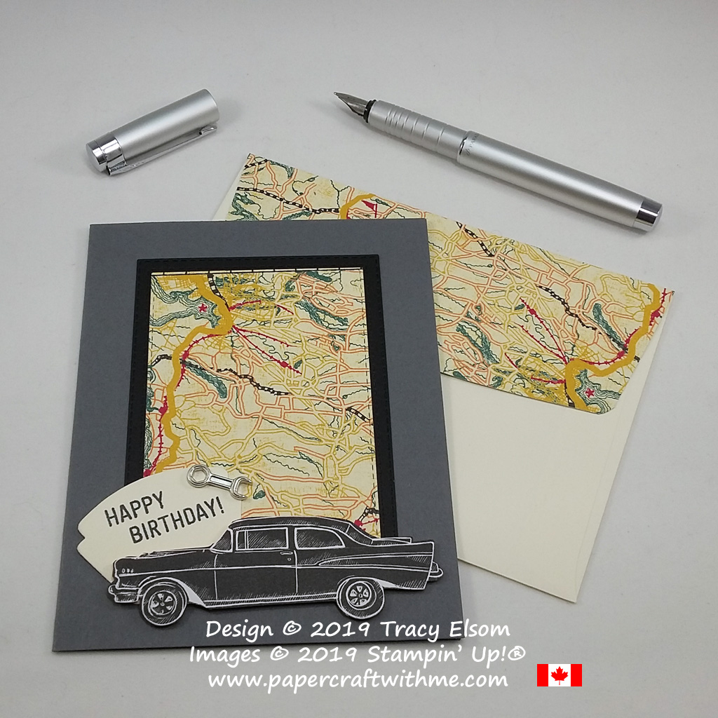 Masculine birthday card with classic car and motoring theme created using Classic Garage Designer Series Paper and metal elements from Stampin' Up!