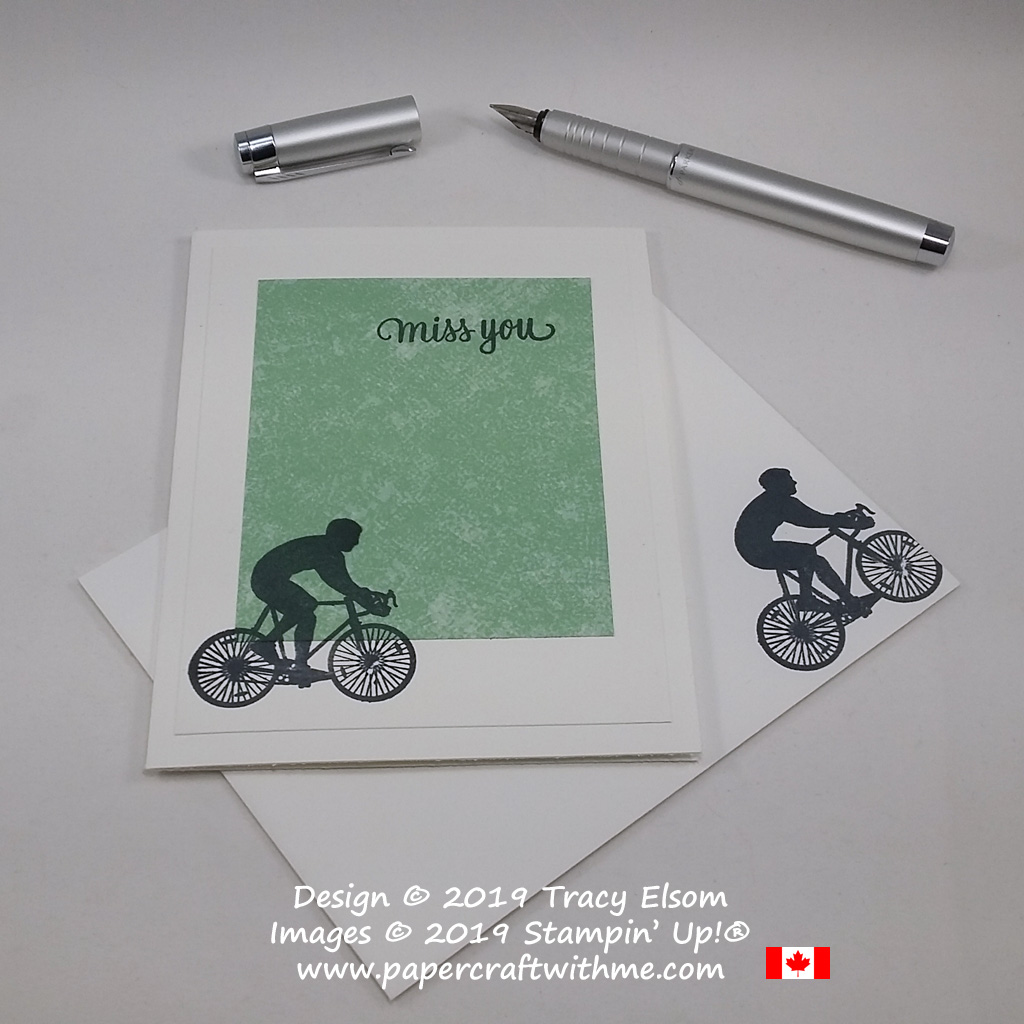Simple miss you card with silhouette cyclist and bike image created using the Enjoy Life Stamp Set and Tranquil Textures Designer Series Paper from Stampin' Up!