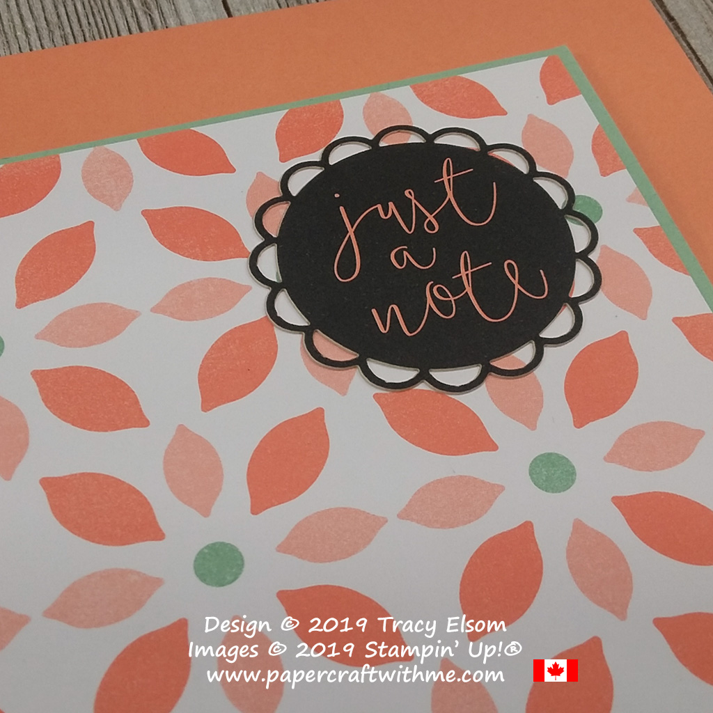 Close up of simple 'Just a Note' card created using the Delightfully Detailed Memories & More Card Pack from Stampin' Up!