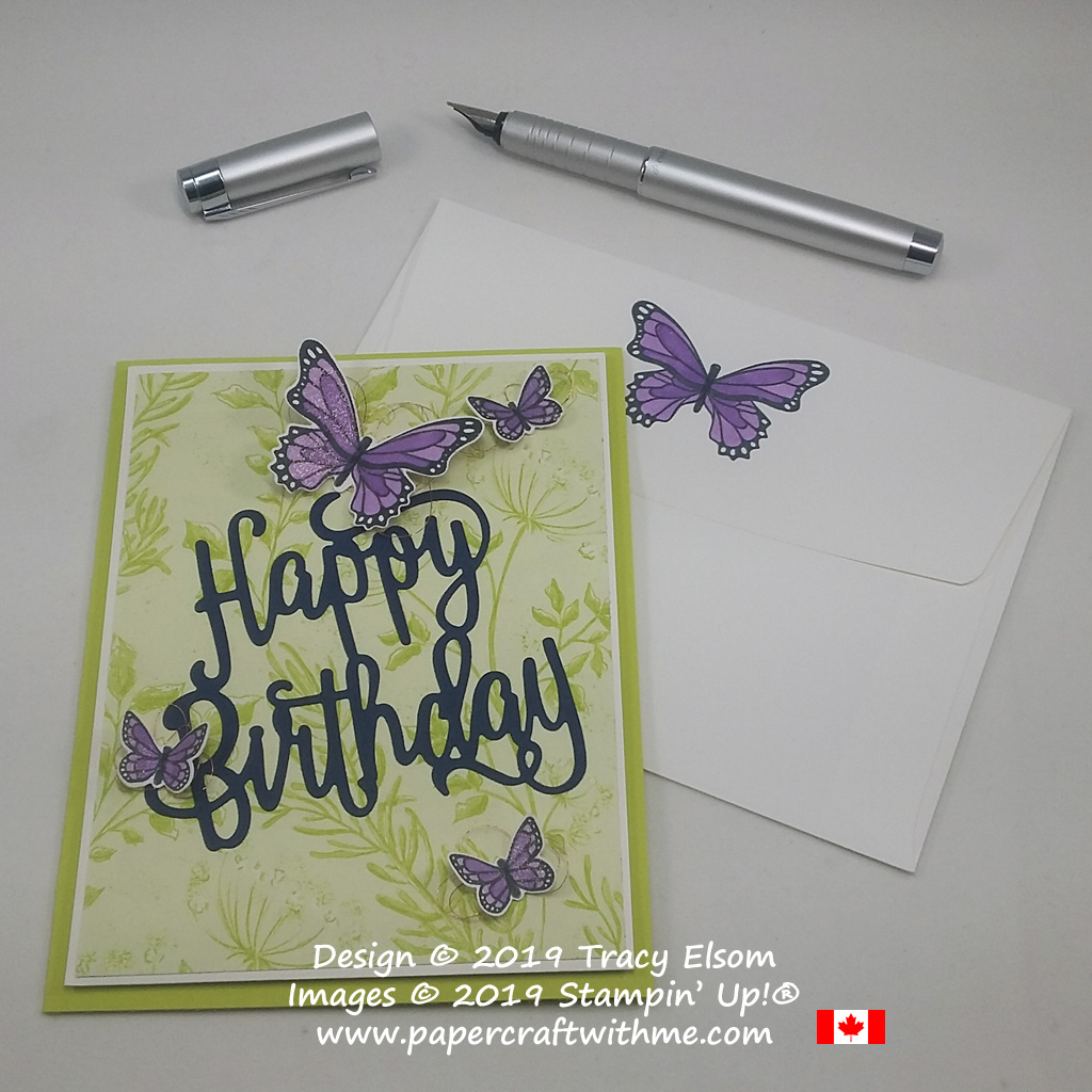 Card created using the Butterfly Gala Stamp Set and coordinating Butterfly Duet Punch, with large Happy Birthday Thinlits Die, all from Stampin' Up!